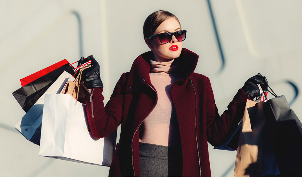 Woman shopping luxury products