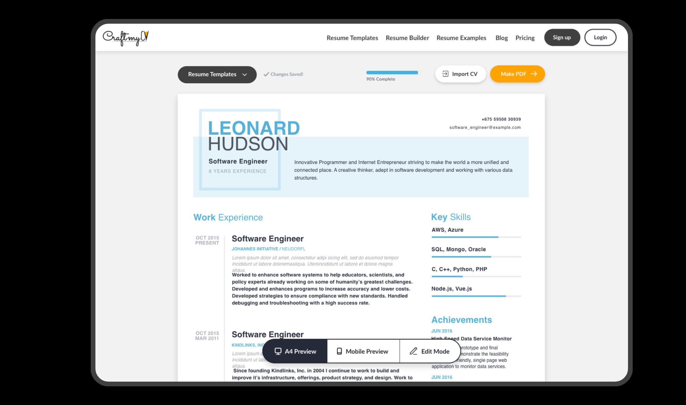 CraftmyCV - make free resume online